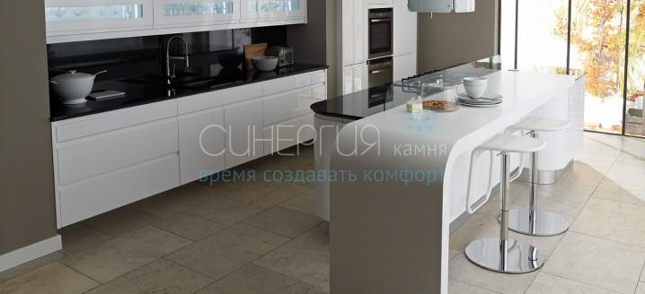 Дизайн барной стойки из искусственного камня для кухни